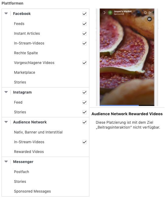 Screenshot der Ad-Platzierung auf Facebook