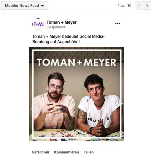 Screenshot einer Facebook Ad im mobilen News Feed