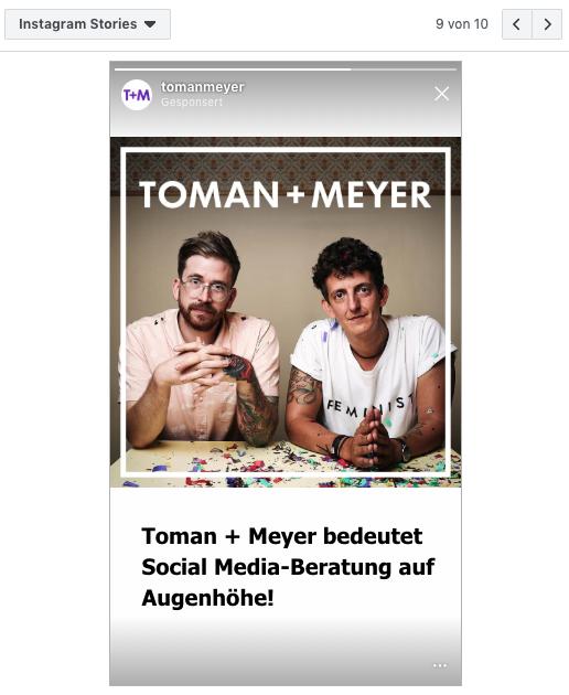 Screenshot einer Story Ad auf Instagram