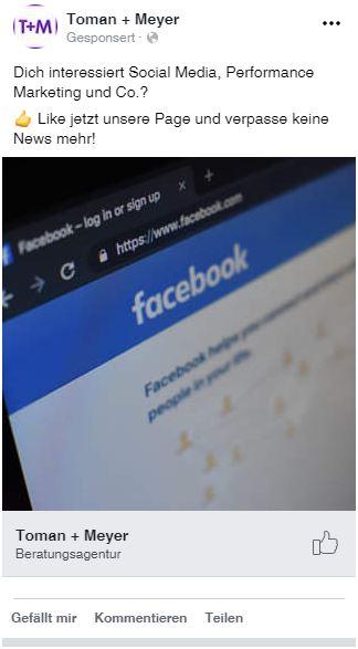 Beispiel für eine Page Like-Anzeige auf Facebook