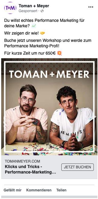 Beispiel für eine Sales-Anzeige auf Facebook